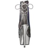 Silver Lackerade 15 cm DELIGHT-1018HG dam stövletter med platåsula hög klack
