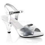 Silver Matt 8 cm BELLE-309 Högklackade Dam Sandaletter