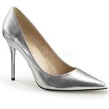 Silver Matte 10 cm CLASSIQUE-20 pointed toe stiletto pumps