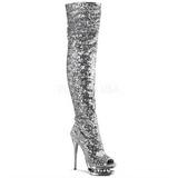 Silver Paljetter 15 cm PLEASER BLONDIE-R-3011 Platå Overknee Stövlar