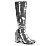 Silver Paljetter 8 cm SPECTACUL-300SQ Höga Damstövlar för Män