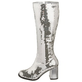Silver Paljetter 8 cm SPECTACUL-300SQ Stövlar Dam