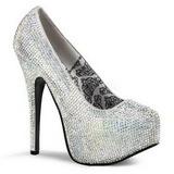 Silver Rhinestone 14,5 cm TEEZE-06R Platform Pumps Women Shoes