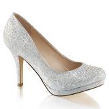 Silver Rhinestone 9 cm COVET-02 High Heeled Evening Pumps Shoes
