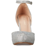 Silver Rhinestone 9 cm COVET-03 Low Heeled Classic Pumps Shoes