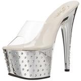 Silver Rhinestone Platform 18 cm STARDUST-701 Women Mules Shoes