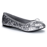 Silver STAR-16G glitter ballerinaskor med platta klack