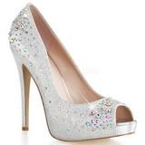 Silver Satin 13 cm HEIRESS-22R Rhinestone Platform Pumps Shoes
