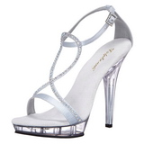Silver Satin 13 cm LIP-156 Womens High Heel Sandals