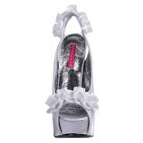 Silver Satin 14,5 cm Burlesque TEEZE-56 Platå Högklackade Sandaler Skor