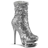 Silver Sequins 15,5 cm BLONDIE-R-1009 pleaser ankle boots with platform