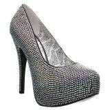 Silver Strass 14,5 cm Burlesque TEEZE-06RW pumps för män med breda fötter