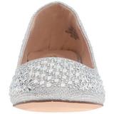 Silver TREAT-06 kristall sten ballerinaskor med platta klack
