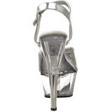 Silver Transparent 15 cm Pleaser KISS-209 Höga sandaletter med klack