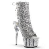 Silver glitter 18 cm ADORE-1018G womens platform soled ankle boots