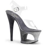 Silver glitter 18 cm Pleaser MOON-708OMBRE Pole dancing high heels shoes