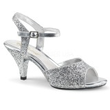 Silver glitter 8 cm Fabulicious BELLE-309G high heeled sandals