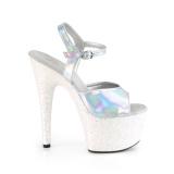 Silver glitter platå 18 cm ADORE-709HGG pleaser höga klackar för kvinnor