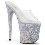 Silver glitter platform 20 cm FLAMINGO-801LG pleaser high heel mules