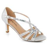 Silver glittrig 6,5 cm Fabulicious MISSY-03 högklackade sandaletter