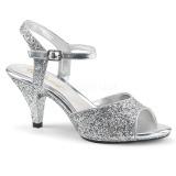 Silver glittrig 8 cm Fabulicious BELLE-309G högklackade sandaletter