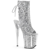 Silver glittriga 20 cm Pleaser FLAMINGO-1018G pole dance stövletter