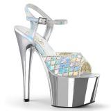 Silver glittriga klackar 18 cm Pleaser ADORE-709MMRS pole dance sandaler