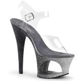 Silver glittriga klackar 18 cm Pleaser MOON-708OMBRE pole dance skor