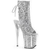 Silver glittriga klackar 20 cm FLAMINGO-1018G pole dance stövletter