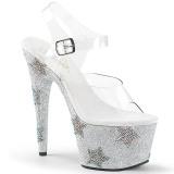 Silver rhinestones 18 cm ADORE-708STAR Pole dancing high heels shoes