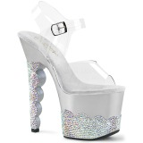 Silver rhinestones 18 cm SCALLOP-708-2RS Pole dancing high heels shoes