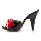 Svart 10 cm SIREN-06 Pinup mules skor med fluga