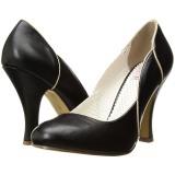 Svart 10 cm SMITTEN-04 Pinup pumps skor med låg klack