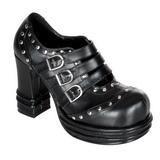 Svart 10 cm VAMPIRE-08 lolita skor goth dam platåskor med tjock sula