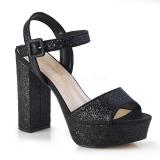 Svart 11,5 cm CELESTE-09 glitter sandaler med blockklack