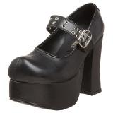 Svart 11,5 cm CHARADE-05 lolita skor goth dam platåskor med tjock sula