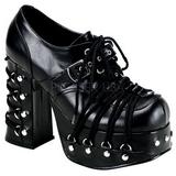 Svart 11,5 cm CHARADE-35 lolita skor goth dam platåskor med tjock sula