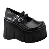 Svart 11,5 cm KERA-08 lolita skor goth wedge plat�skor med kilklack