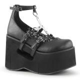 Svart 11,5 cm KERA-09 lolita skor goth wedge plat�skor med kilklack