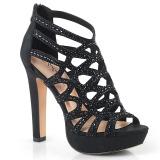 Svart 11,5 cm Pleaser SELENE-24 Högklackade sandaletter med platå