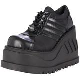 Svart 12,5 cm STOMP-08 lolita skor goth wedge platåskor med kilklack
