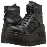 Svart 12 cm STOMP-12 lolita skor goth wedge platåskor med kilklack