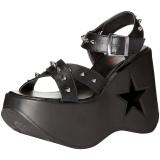 Svart 13 cm Demonia DYNAMITE-02 lolita sandaler med kilklack