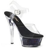 Svart 15 cm KISS-208GF glittriga platå sandaler skor