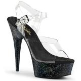 Svart 15 cm Pleaser DELIGHT-608MG glitter platå klackar skor