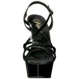 Svart 15 cm Pleaser DELIGHT-613 Högklackade sandaletter med platå