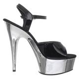 Svart 15 cm Pleaser KISS-209 Sandaletter med krom platå