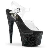 Svart 18 cm ADORE-708MG glitter platå klackar skor