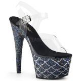 Svart 18 cm ADORE-708MSLG glittriga platå sandaler skor