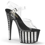 Svart 18 cm ADORE-708VLRS platå klackar skor med strass stenar